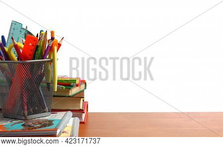Writing Desk Or School Desk With School Supplies. Back To School Or Home School Concept.  Place For