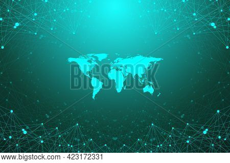 World Map With Global Technology Networking Concept. Digital Data Visualization. Lines Plexus. Big D