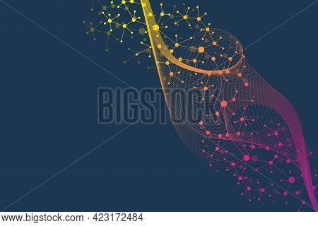 Medical Abstract Background With Health Care Icons. Medical Technology Network Concept. Connected Li