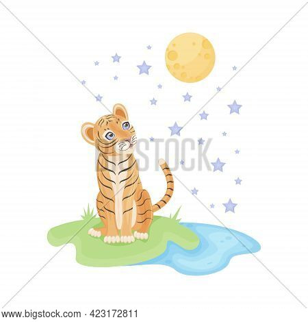 Cute Bright Children S Illustration. Baby Tiger Cub Sits On The Grass Near The Pond And Dreamily Loo