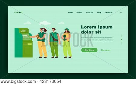 People Standing In Queue Flat Vector Illustration. Crowd Waiting In Line For Terminal Transaction. B