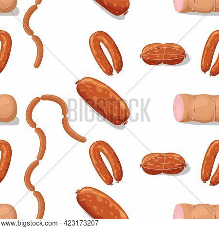 Vector Flat Meat And Sausages Icons Pattern Or Background Illustration. Seamless Pattern Sausage And