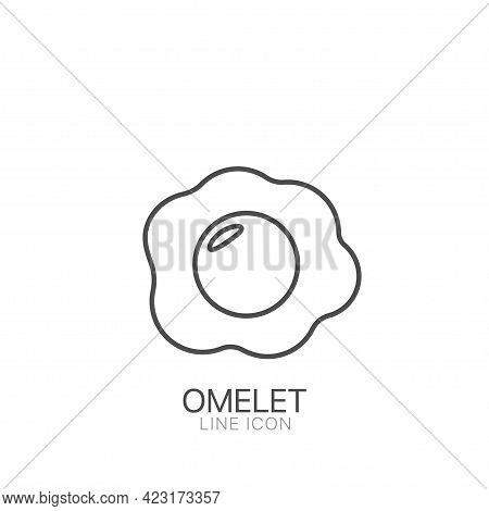 Omelet Outline Simple Vector Icon. Editable Stroke