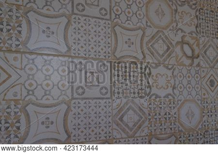 Colorful Vintage Ceramic Tiles Wall Decoration. Turkish Ceramic Tiles Wall Background In Light Brown