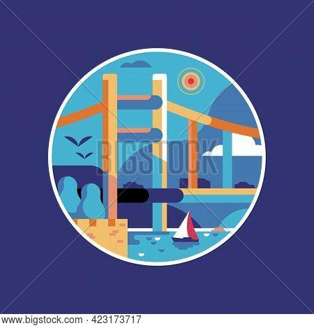Travel Istanbul Icon With Second Bosphorus Bridge