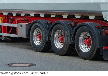 View On Truck Wheels And Tires On Truck Chassis. Truck Chassis Parts Details Devices Equipment.