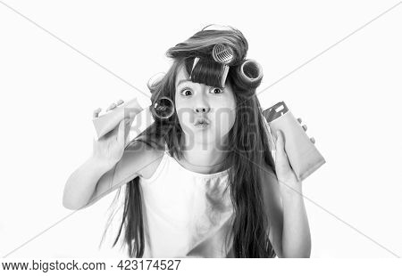 Little Girl In Hair Curlers. Teen In Hair Curlers. Kid Fashion, Cosmetics. Cute Teen Putting Cream O