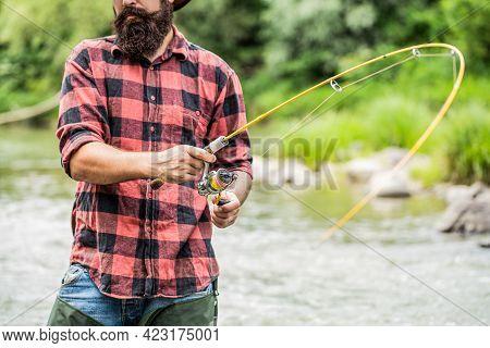 Fishing Rod Lake Fisherman Men Sport Summer. Fisherman With Rod Fishing On The Lake. Fishing. Fisher