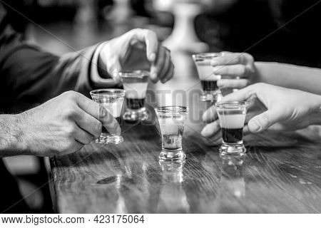 Friends Drink Shot Or Liqueur. Five Glasses Of Alcohol. Cocktail At The Nightclub. Group Friends Teq