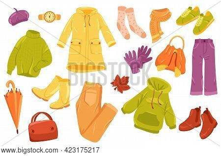 Autumn Clothing Cute Stickers Isolated Set. Collection Of Sweater, Raincoat, Socks, Scarf, Gloves, P