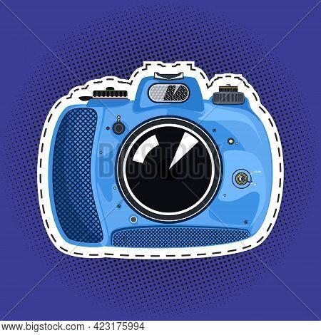 Blue Beautiful Cute Instant Print Camera , Manual Camera On A Purple Violet Pop Art Halftone Backgro