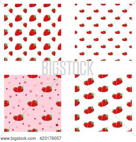 Set Seamless Pattern With Strawberries. Strawberry Berry Pattern On White And Pink Background.