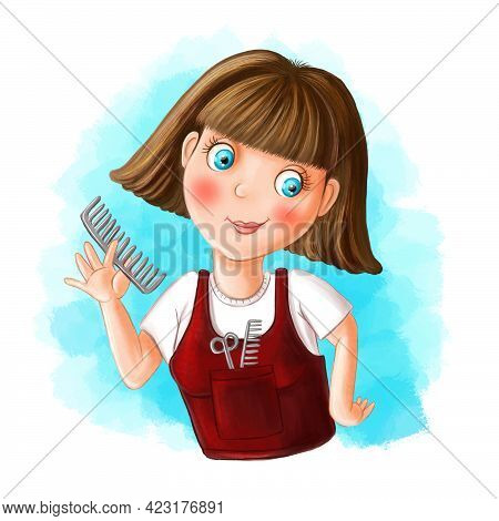 Children Illustration Of A Cartoon Image Of A Hairdresser, A Girl By Profession A Hairdresser, Holdi