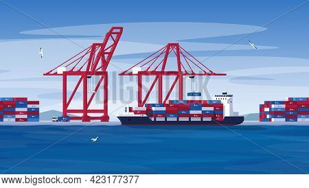 Port Crane Loads Containers Onto A Ship. Seaport For Loading And Unloading Containers. The Industry