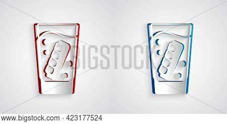 Paper Cut False Jaw In Glass Icon Isolated On Grey Background. Dental Jaw Or Dentures, False Teeth W