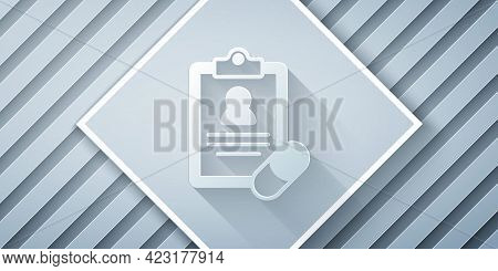 Paper Cut Medical Prescription Icon Isolated On Grey Background. Rx Form. Recipe Medical. Pharmacy O