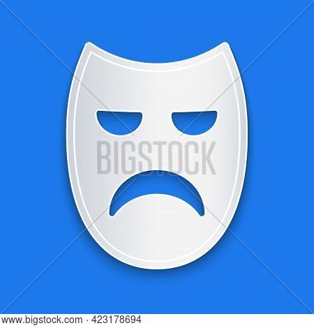 Paper Cut Drama Theatrical Mask Icon Isolated On Blue Background. Paper Art Style. Vector