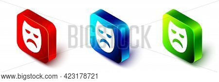 Isometric Drama Theatrical Mask Icon Isolated On White Background. Red, Blue And Green Square Button
