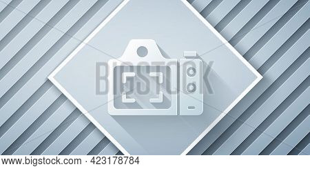 Paper Cut Photo Camera Icon Isolated On Grey Background. Foto Camera. Digital Photography. Paper Art