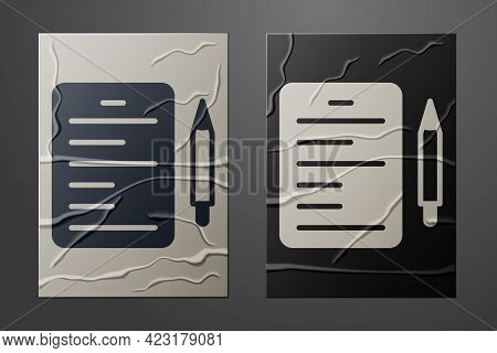 White Scenario Icon Isolated On Crumpled Paper Background. Script Reading Concept For Art Project, F