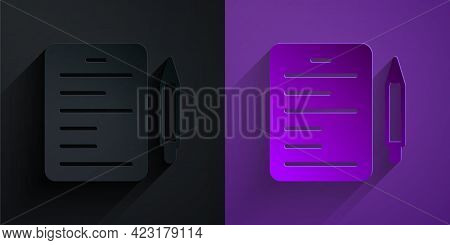 Paper Cut Scenario Icon Isolated On Black On Purple Background. Script Reading Concept For Art Proje
