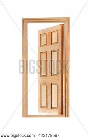 Open wooden door isolated over white background