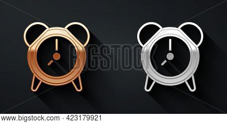 Gold And Silver Alarm Clock Icon Isolated On Black Background. Wake Up, Get Up Concept. Time Sign. L