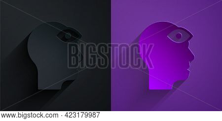 Paper Cut Man With Third Eye Icon Isolated On Black On Purple Background. The Concept Of Meditation,