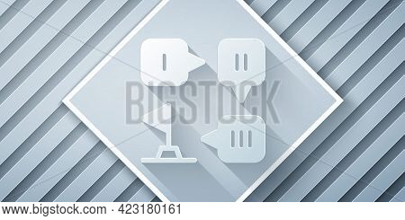 Paper Cut Planning Strategy Concept Icon Isolated On Grey Background. Formation And Tactic. Paper Ar
