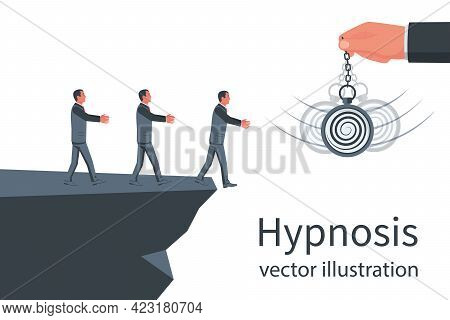 Hypnosis Concept. A Group Of Businessmen Follows In The Abyss. Watch On A Chain. Pendulum Swinging.