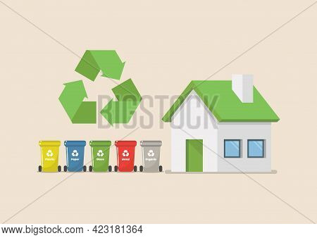 Recycle Bins Set With Eco House. Vector Illustration