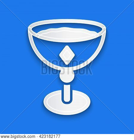 Paper Cut Medieval Goblet Icon Isolated On Blue Background. Paper Art Style. Vector