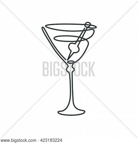 One Line Drawing Martini Glass With Olive On Skewer On White Background. Cartoon Graphic Sketch For