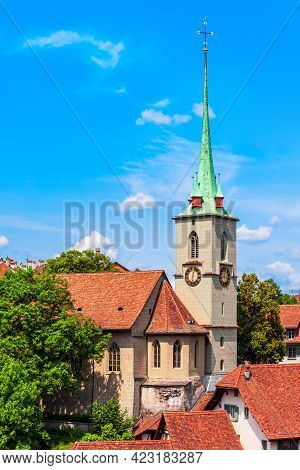Reformed Nydeggkirche Church And Aare River Aerial Panoramic View In The Old City Of Bern In Switzer