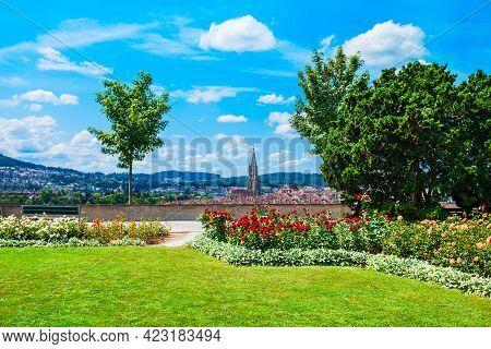Rosengarten Rose Garden Park And Bern City Aerial Panoramic View. Bern Is The Capital Of Switzerland
