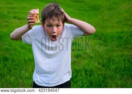 Shocked Boy With Empty Ice Cream Cup, Cheating With Food
