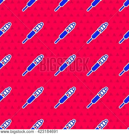 Blue Audio Jack Icon Isolated Seamless Pattern On Red Background. Audio Cable For Connection Sound E