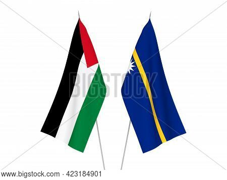 National Fabric Flags Of Palestine And Republic Of Nauru Isolated On White Background. 3d Rendering