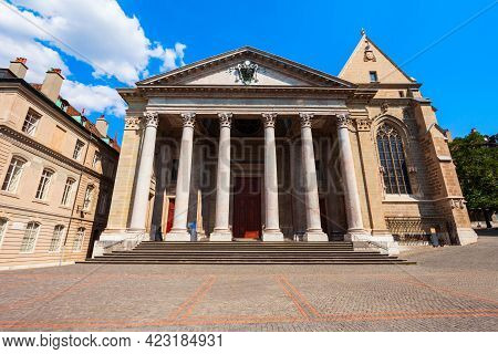Saint Pierre Or St. Peter Cathedral Reformed Protestant Church Of Geneva Is Located In The Centre Of
