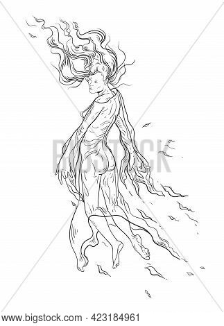 Ghost Girl With Curly Hair Levitates In The Air. The Concept Of Lightness And Airiness. Vector Illus