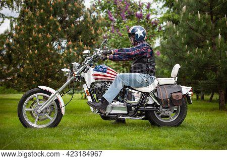 Poland, Bydgoszcz - Jun 03, 2021: Honda Shadow Vt-1100c 1988r, Colors Of The American Flag.