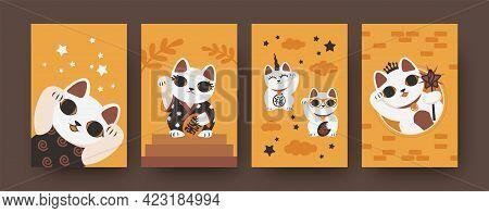 Set Of Japanese Cats Illustrations In Modern Style. Vector Collection Of Maneki Neko Isolated On Ora