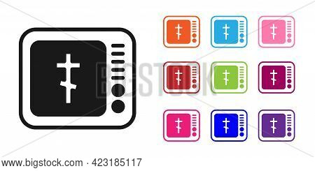 Black Online Church Pastor Preaching Video Streaming Icon Isolated On White Background. Online Churc