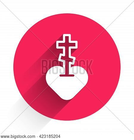 White Religious Cross In The Heart Inside Icon Isolated With Long Shadow. Love Of God, Catholic And