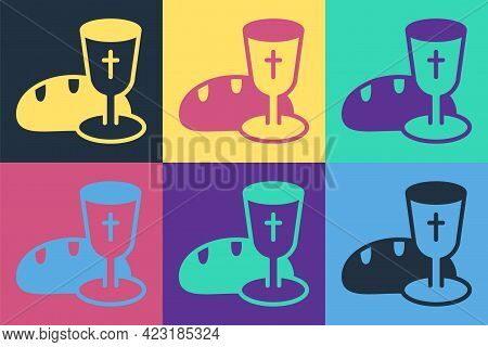 Pop Art Goblet And Bread Icon Isolated On Color Background. Bread And Wine Cup. Holy Communion Sign.