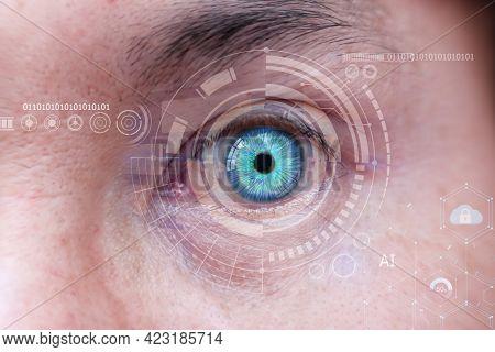 Human Eye With Cyber Technology Eye Panel Concept, Man Eye And High-tech Concept, Screening Big Data