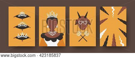 Modern Collection Of Art Posters With Fairytale Characters. Black Princess With Beautiful Shiny Crow
