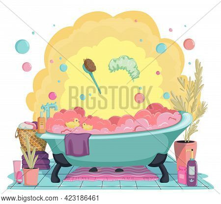 Cozy Bathroom With Bath Full Of Foam And Bath Accessories. Beauty And Body Care Concept. Vector Illu