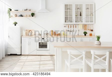 Light Kitchen Furniture After Renovation. Kitchenware And Plants On Shelves, Chairs And Table In Sca