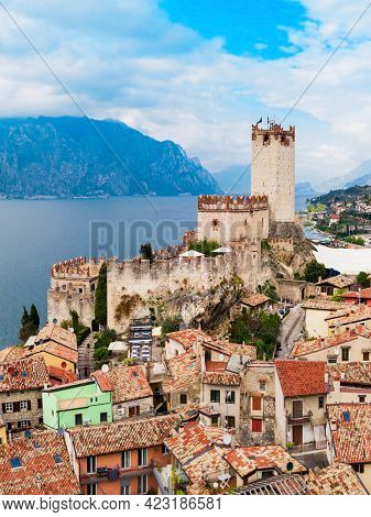 Scaliger Castle Or Castello Scaligero Is A Medieval Fortress In The Malcesine Old Town On The Shore